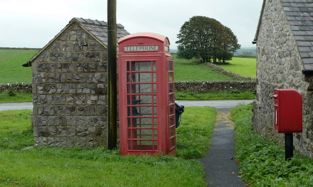 Telephone box, postbox and bus shelter, Flagg