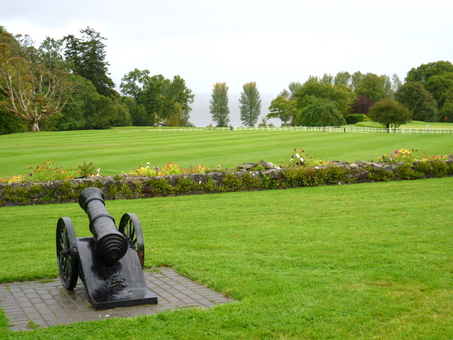 A foreign cannon on the front lawn of the Park Hotel, Virginia, looking across part of its 100 acre estate to Lough Ramor