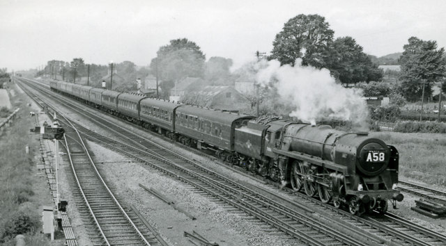 Up express at Magor, with BR 'Britannia' Pacific
