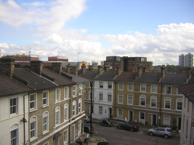 Southolm Street, Battersea, from a train out of Victoria