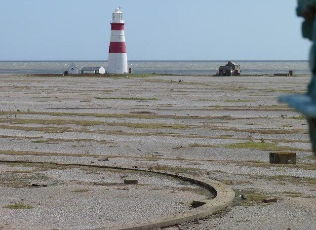 Orfordness lighthouse from Bomb Ballistics tower
