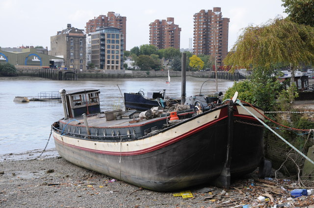 Barge moored on the Thames