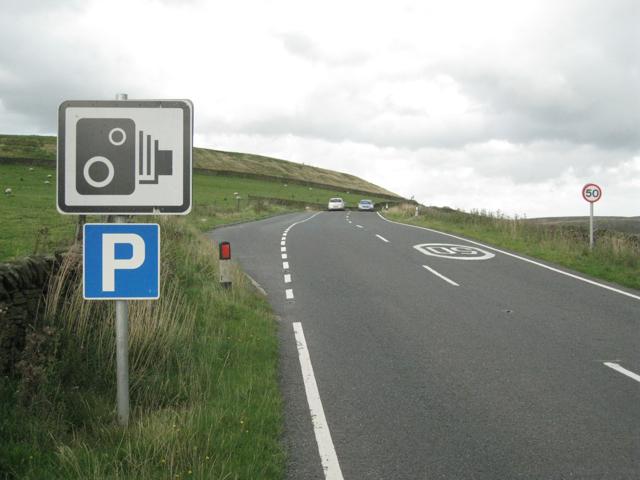 Lay-by and signs, A54 near Sparbent.
