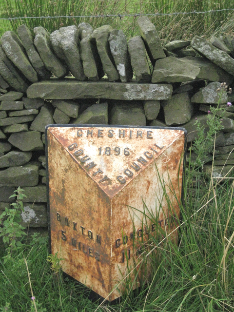 Old milepost by the A54