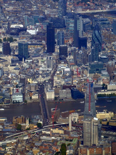 The Shard and the Gherkin from the air