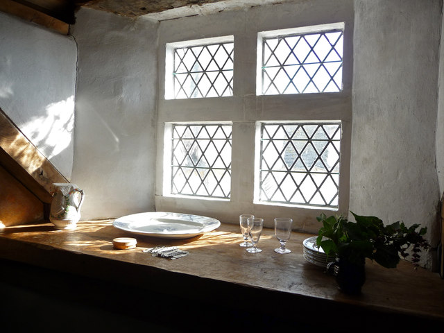 Windowsill in furnished attic room, Plas Mawr