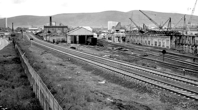 Railway near Bridge End station, Belfast (1976)