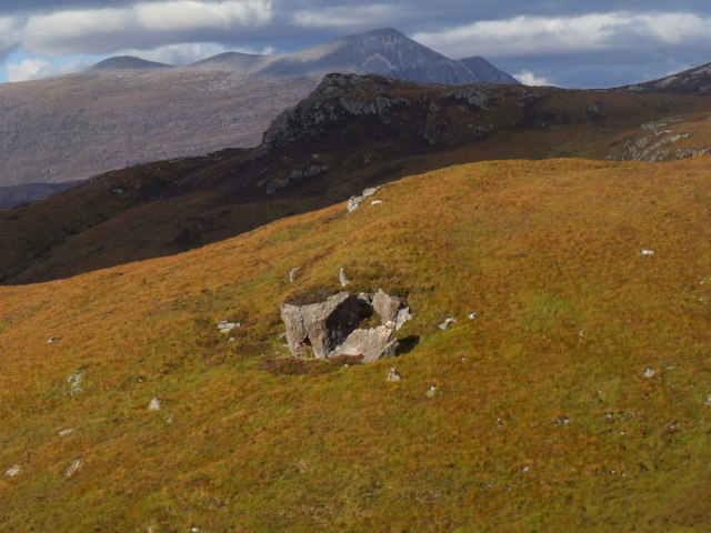 Rock outcrop above tributary of Allt Mor near Kishorn