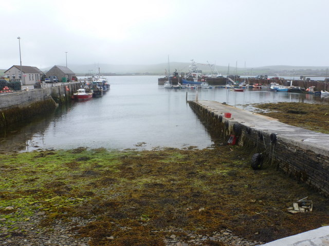 Pierowall: looking out across the harbour
