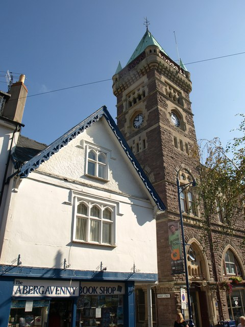 Bookshop and town hall, Abergavenny