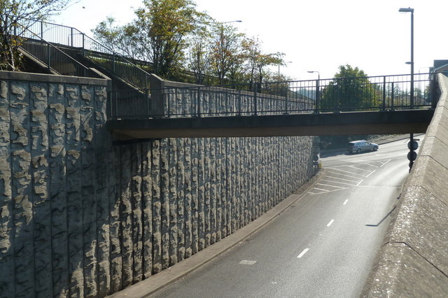 A61 slip road and pedestrian footbridge
