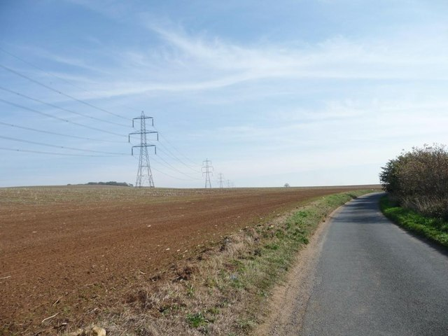 Pylons marching alongside Sleep Hill Lane