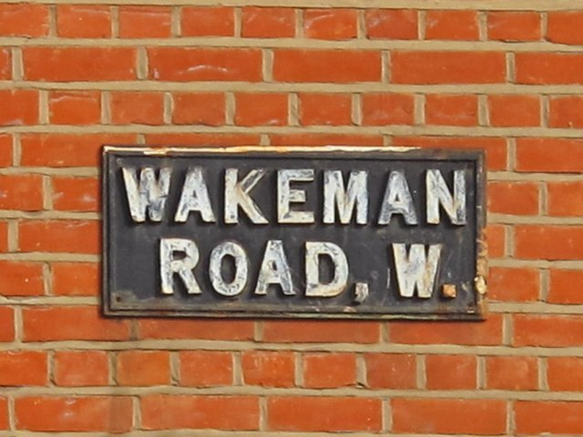 Sign for Wakeman Road, NW10
