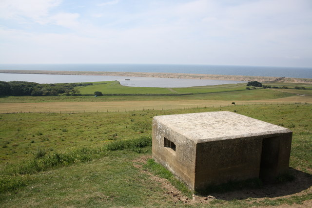 Pill box overlooking West Fleet and Chesil Beach