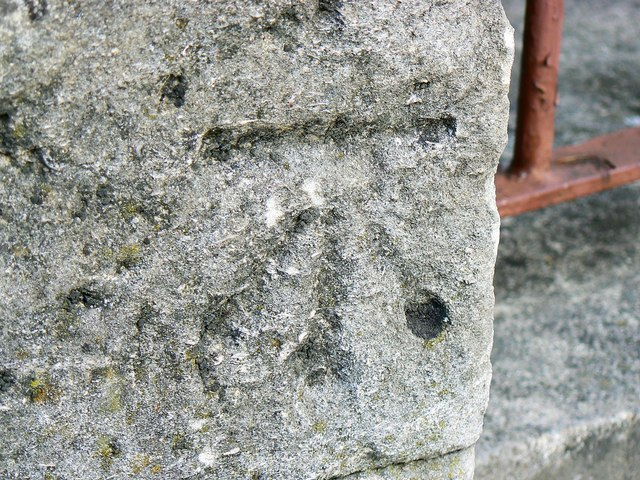 Ordnance Survey bench-mark close-up, Emlyn Square, Swindon