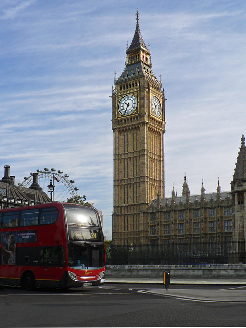 Big Ben, The Wheel and a Red Bus -... © Mick Lobb cc-by-sa ...