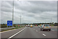 TQ5197 : M25 approaching bridge over River Roding by Robin Webster