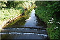 SP0683 : Small weir, River Rea by Nigel Chadwick