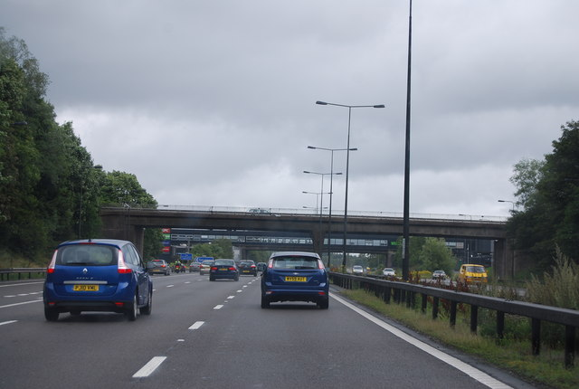 Approaching Keele Services, M6