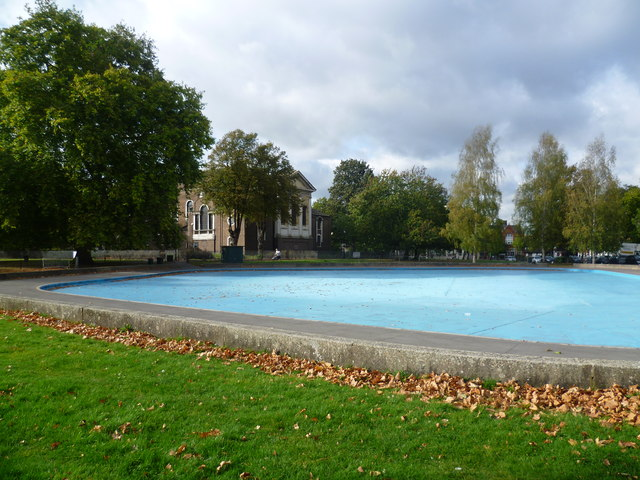 Holy Trinity Church, Clapham Common across the paddling pool