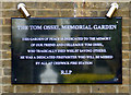 TQ2078 : Tom Ossel Memorial Garden plaque by Thomas Nugent