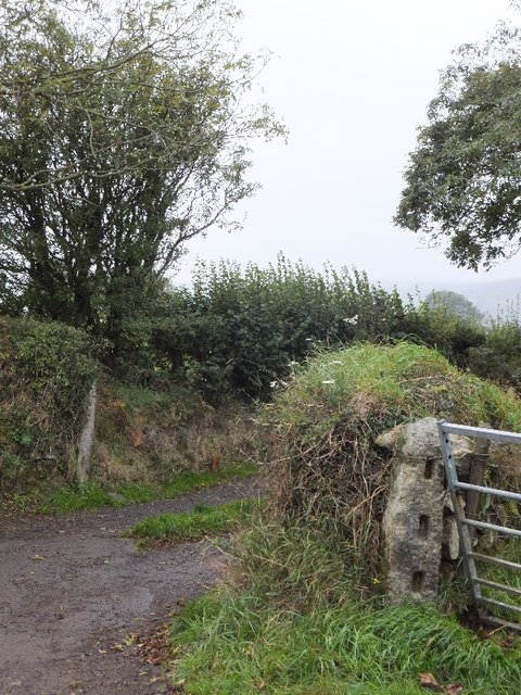 Lane to West Wyke and granite gatepost to field