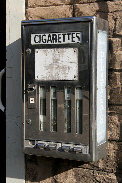 An old cigarette machine at Ayton