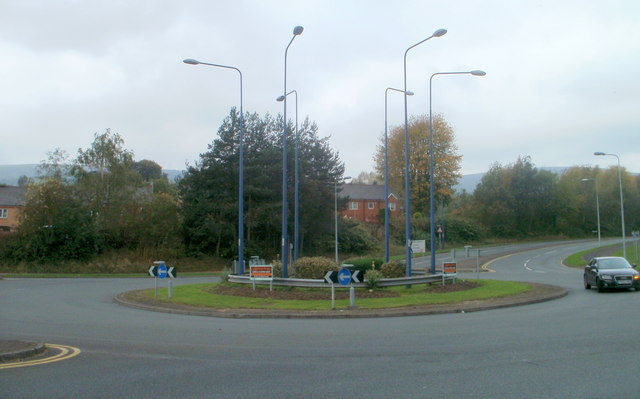 Six lamp posts on a mini-roundabout, Forge Hammer, Cwmbran