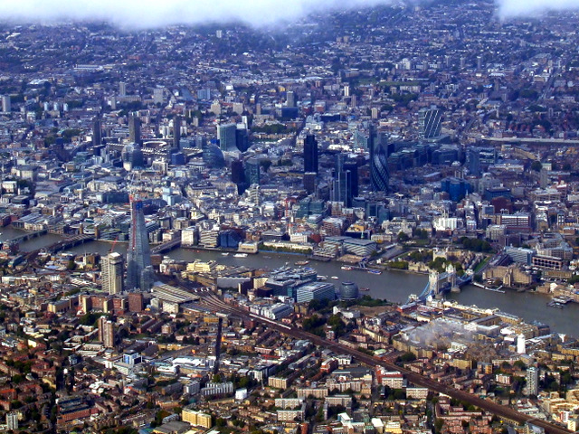 Thames bridges and the City of London from the air