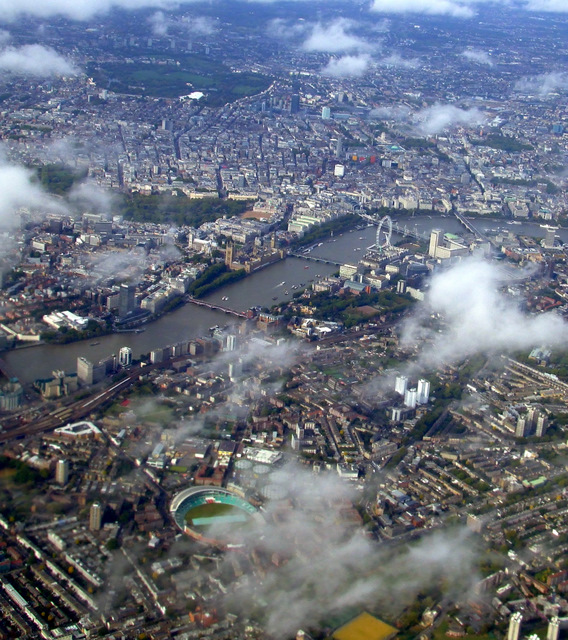 The Oval and Westminster from the air