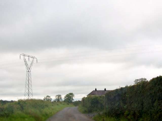 Power lines crossing the road at Drumbinnis