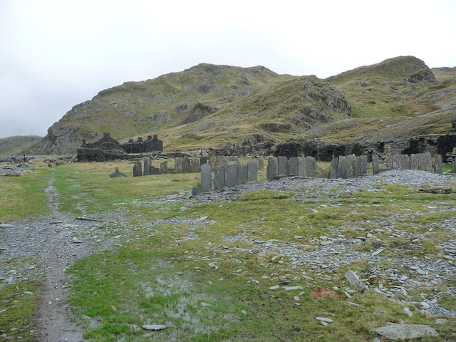 Old slate mine buildings at Rhosydd