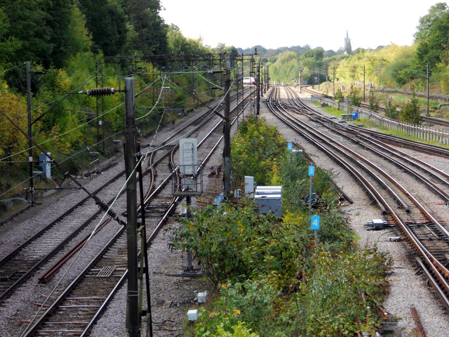 Railway tracks leading west from Upminster Station