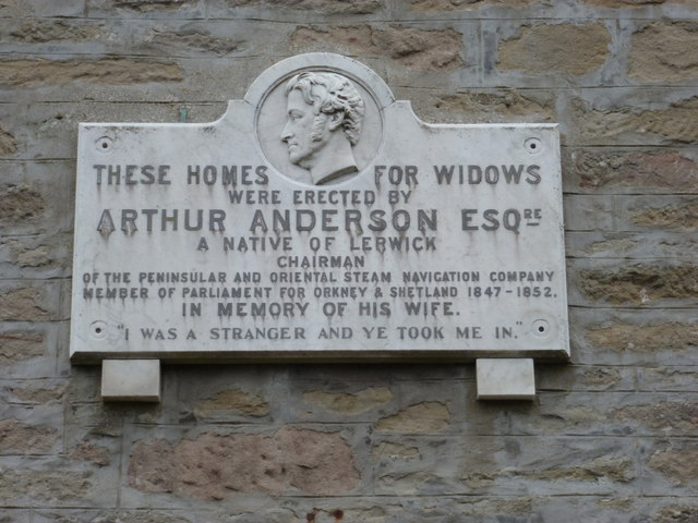 Lerwick: plaque on the Widows� Homes