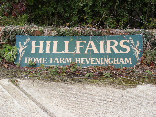 Home Farm, Heveningham sign
