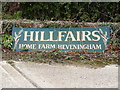 TM3571 : Home Farm, Heveningham sign by Adrian Cable