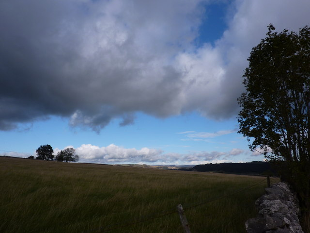 Black clouds and blue sky