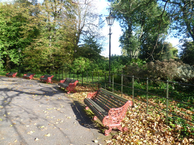 Seats around the bandstand, Battersea Park
