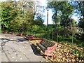 TQ2877 : Seats around the bandstand, Battersea Park by Ian Yarham
