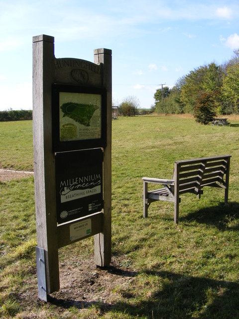 Huntingfield Millennium Green sign