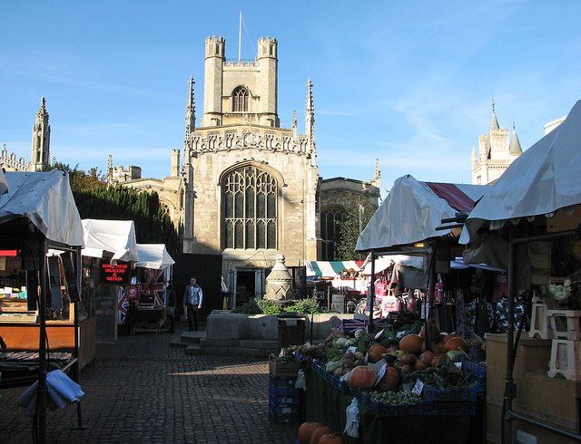 Cambridge Market and Great St Mary's church