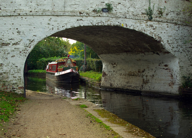 View of narrowboat through Bridge 189, Grand Union Canal