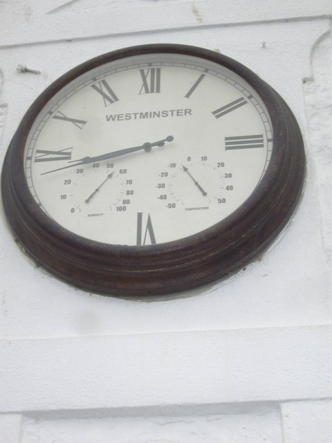A Westminster clock on the wall of the Marine Hotel, Stonehaven