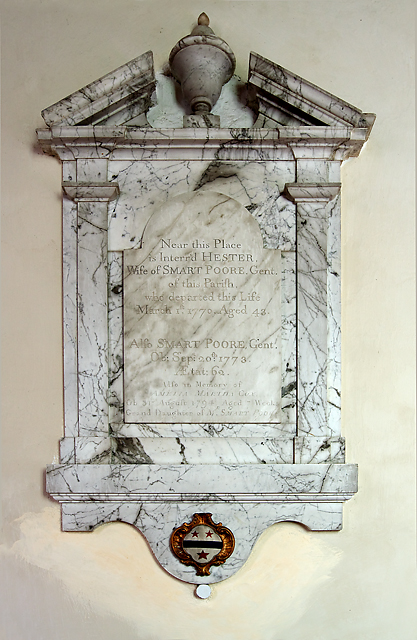 Monument to Hester & Smart Poore - St Michael's church, Figheldean