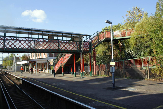 St Denys railway station: platform and footbridge