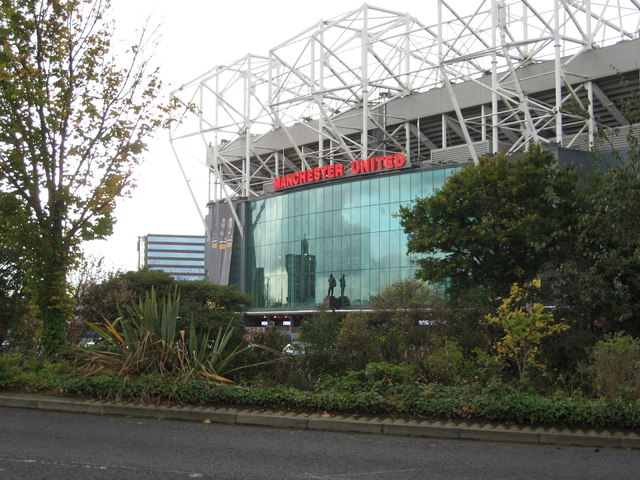 Man. Utd. football ground and Sir Matt Busby statue