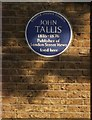 Photo of John Tallis blue plaque