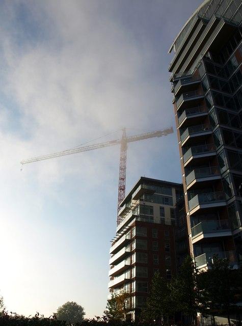 Crane and flats, Battersea Reach