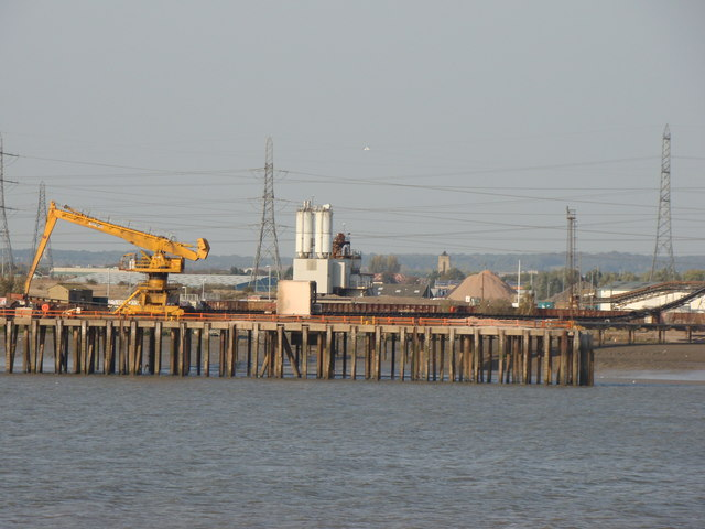 View of a Thames jetty from the Thames Path