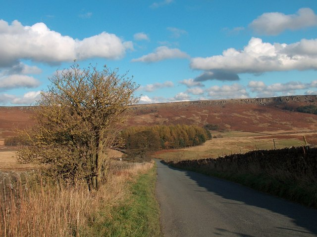 Looking down Bole Hill to Dennis Knoll